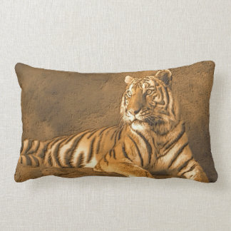 Tiger Art Portrait on a Brown Wall Background Lumbar Cushion