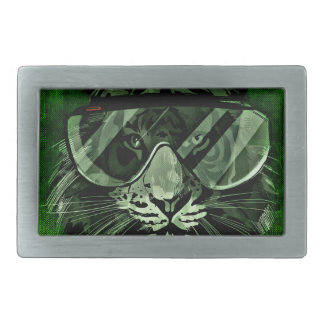 Tiger art rectangular belt buckle