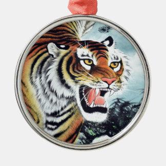 Tiger Art Silver-Colored Round Decoration