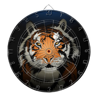 Tiger at night dartboard with darts
