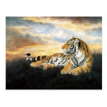 Tiger at sunset, Classical Chinese Art Postcard