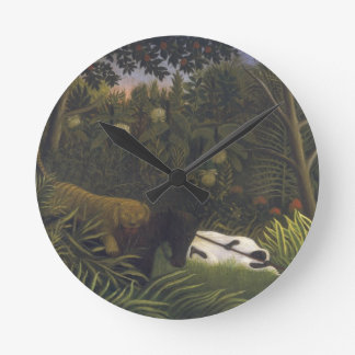 Tiger Attacking a Horse and a Sleeping Black Man ( Round Clock