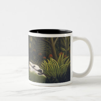 Tiger Attacking a Horse and a Sleeping Black Man ( Two-Tone Coffee Mug