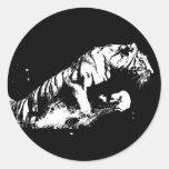 Tiger Attacking Classic Round Sticker