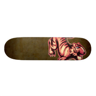 Tiger Baby Painting Cartoon Salmon Brown Skateboard Deck
