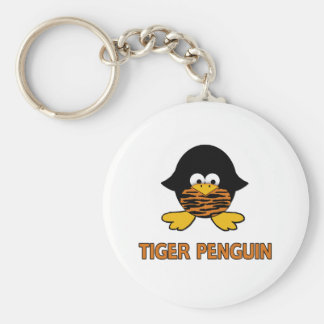 Tiger Baby Penguin Basic Round Button Key Ring