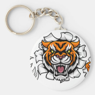 Tiger Background Claws Breakthrough Key Ring