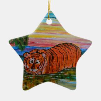 Tiger bathing at sunset ceramic star decoration