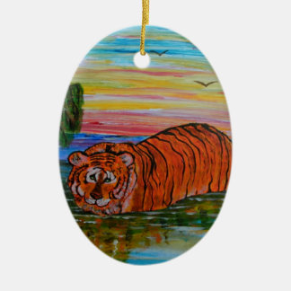 Tiger bathing at sunset christmas ornament