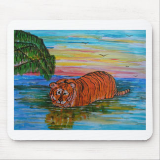 Tiger bathing at sunset mouse mat