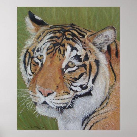 tiger big cat realist portrait art painting poster