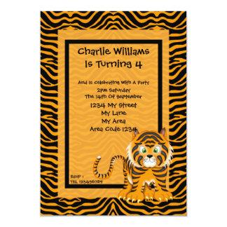 "Tiger Birthday Party 5"" X 7"" Invitation Card"