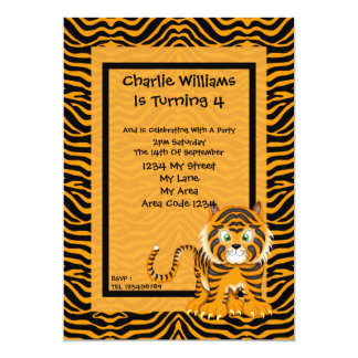 Tiger Birthday Party Announcements