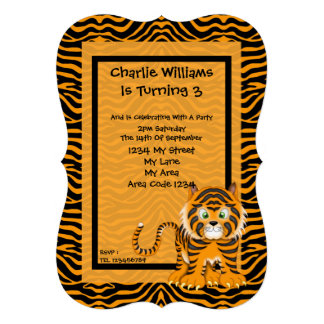 Tiger Birthday Party Custom Announcements