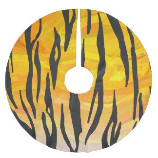 Tiger Black and Orange Print Brushed Polyester Tree Skirt
