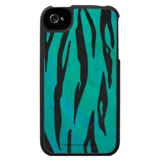 Tiger Black and Teal Print iPhone 4 Case