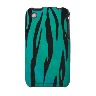 Tiger Black and Teal Print Case For The iPhone 3