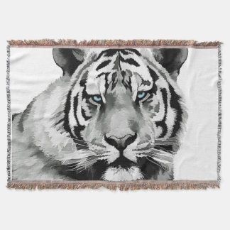Tiger Black and White Blue eyes Throw Blanket