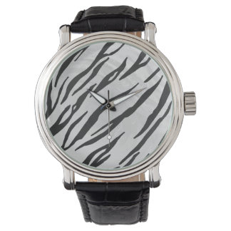 Tiger Black and White Print Wristwatches