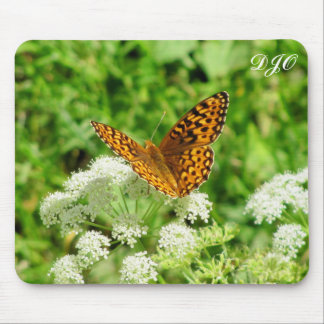 Tiger Butterfly on White Flower Mousepads