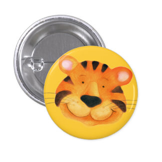 Tiger button - orange & yellow