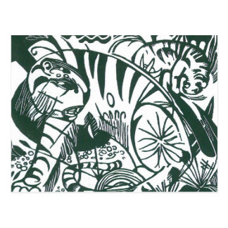 Tiger by Franz Marc, Black and White Fine Art Postcard