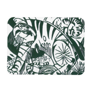 Tiger by Franz Marc, Black and White Fine Art Rectangular Photo Magnet