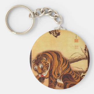 Tiger by Ito Jakuchu Basic Round Button Key Ring
