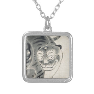 Tiger by Ito Jakuchu Square Pendant Necklace