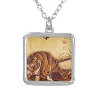 Tiger by Ito Jakuchu Square Pendant Necklace