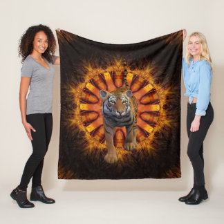 Tiger By The Tail. Fleece Blanket
