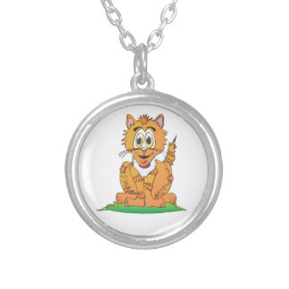 Tiger Cat Cartoon Round Pendant Necklace