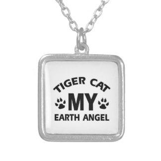 TIGER CAT DESIGN SQUARE PENDANT NECKLACE