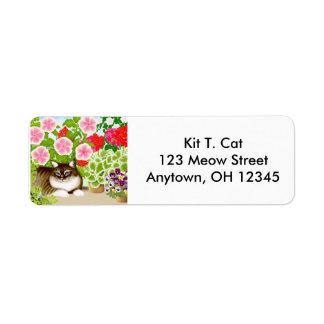 Tiger Cat in Garden Avery Label