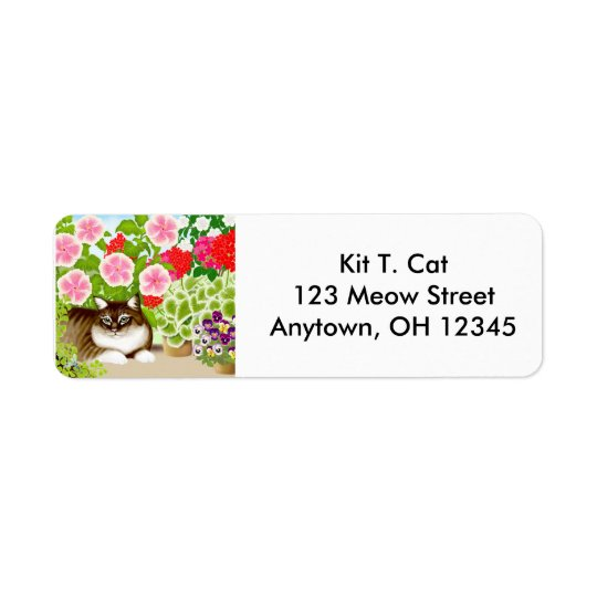 Tiger Cat in Garden Avery Label Return Address Label
