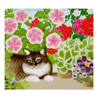 Tiger Cat in the Garden Jungle Poster