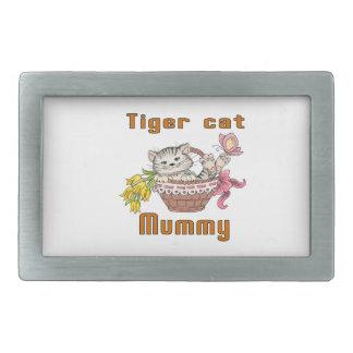 Tiger Cat Mom Rectangular Belt Buckle