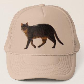 Tiger Cat Walking on multiple colored Trucker Hat