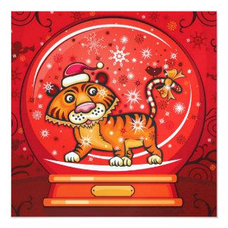 Tiger Christmas Card - SRF 13 Cm X 13 Cm Square Invitation Card