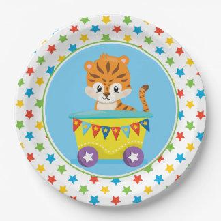 Tiger  Circus Train   Circus Theme 9 Inch Paper Plate