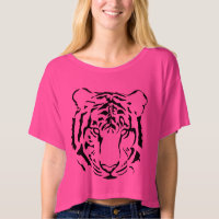 Tiger Close Up Face Bella Boxy Crop Top T Shirt