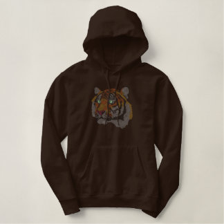 Tiger Cross-stitch Embroidered Pullover Hoodie