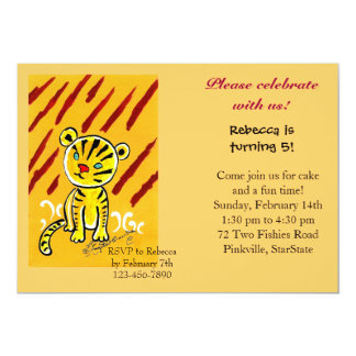 Tiger Cub 13 Cm X 18 Cm Invitation Card