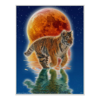 Tiger Cub Eclipsing Moon Wildlife Conservation Poster