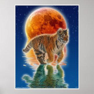 Tiger Cub Eclipsing Moon Wildlife Conservation Poster
