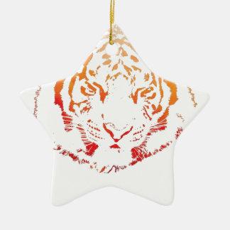 Tiger Design Ceramic Star Decoration