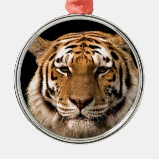 Tiger Design Silver-Colored Round Decoration