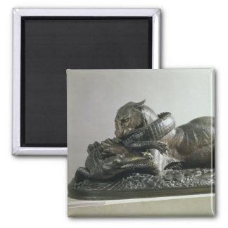 Tiger devouring an alligator, 1832 (bronze) magnet