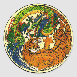 Tiger & Dragon Yin Yang Round Stickers