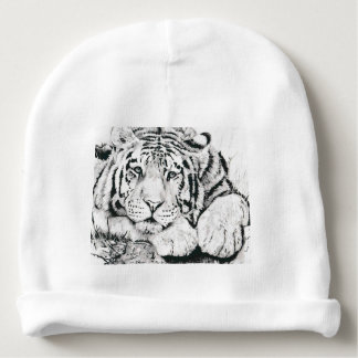 Tiger drawing baby beanie